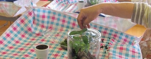 7月20日(土)苔テラリウム講座を開催しました。 瓶の中に5種類のコケとお好みの植物やフィギュアを入れました。 半年~1年くらいなら、直射日光に当たらない場所に置いておくだけで良いそう です。